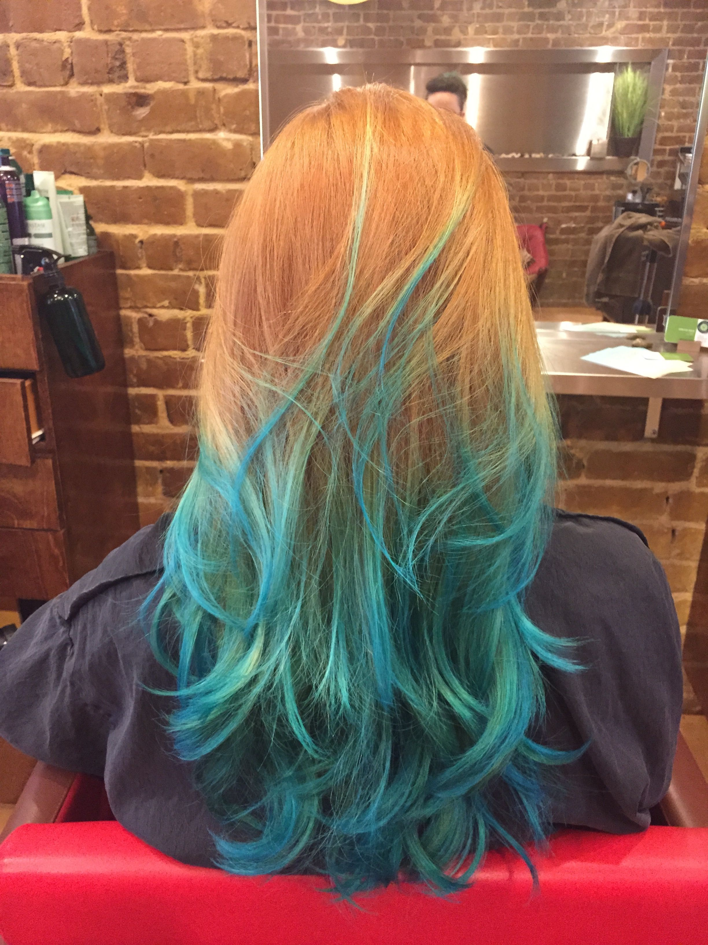 Natural Red Hair With Blue Ombre Hair Dye Tips Blue Ombre Hair