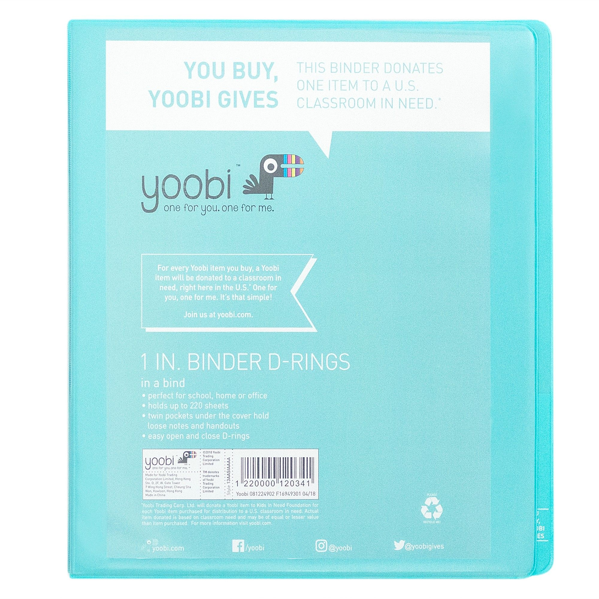 1 Ring Binder Aqua (Blue) - Yoobi