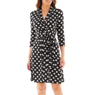 Liz Claiborne 3 4 Sleeve Faux Wrap Dress Found At