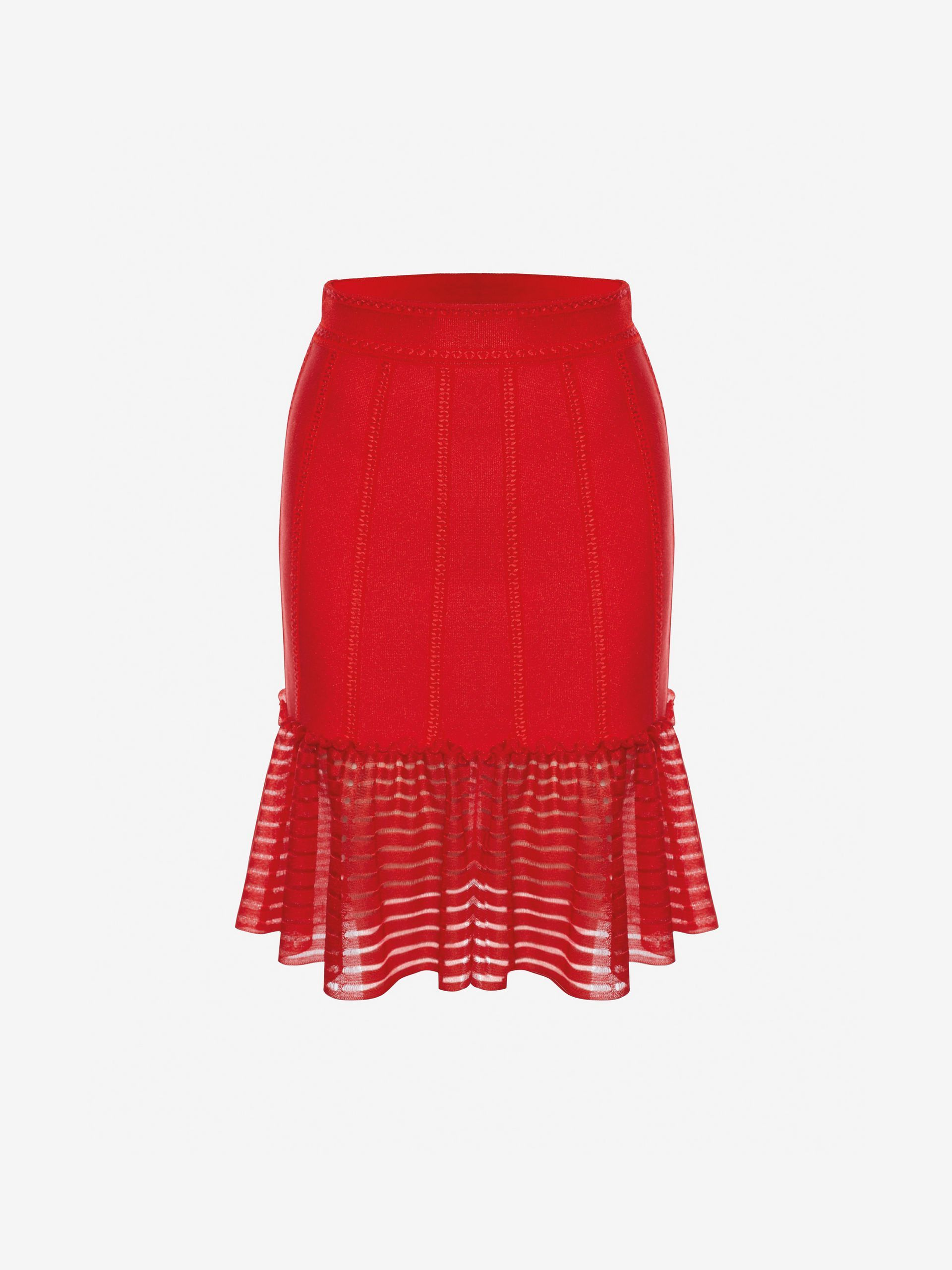 6de5886c78  Shop Women 's Lust Red Sheer Knit Mini Skirt from the official online store  of iconic fashion designer Alexander McQueen.