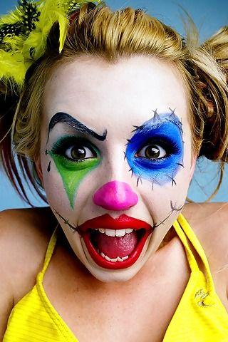halloween Clown makeup jester makeup Pinterest Halloween clown - halloween face paint ideas scary