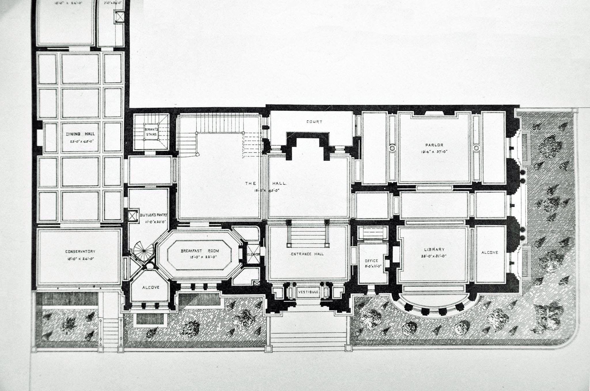 Cornelius Vanderbilt Ii House Original Post Design Prior To The Hunt Renovation Expansion 1st Floor Mansion Plans Mansion Floor Plan Vintage House Plans