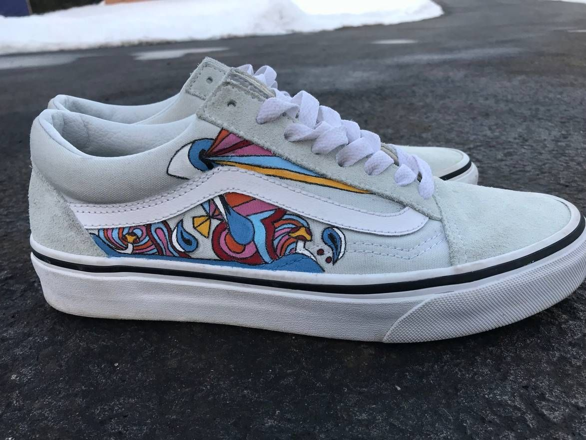 ecedbe2bc4f3 Custom hand painted psychedelic ice flow old skool vans. Custom shoes by  me! These are available on my etsy