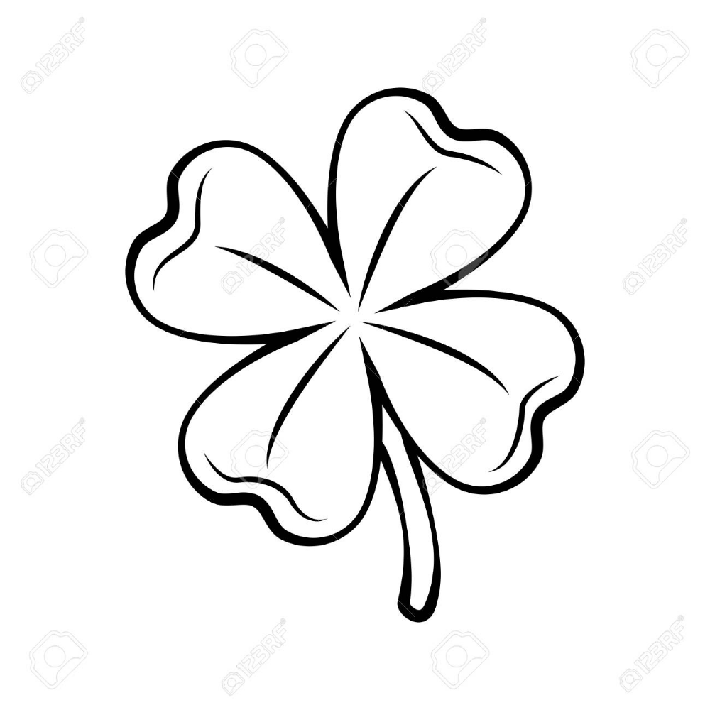 Trebol De Cuatro Hojas De Contorno Dia De San Patricio Ilustracion De Vector Contorneado Aislado Sobre Fondo Blanco Trebol De Cuatro Hojas Tatuajes Trebol 4 Hojas Flores Para Dibujar