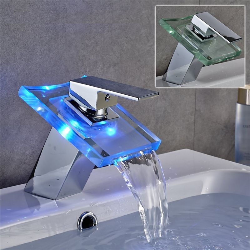 Single Glass Color Changing Led Waterfall Faucet Bathroom Sink