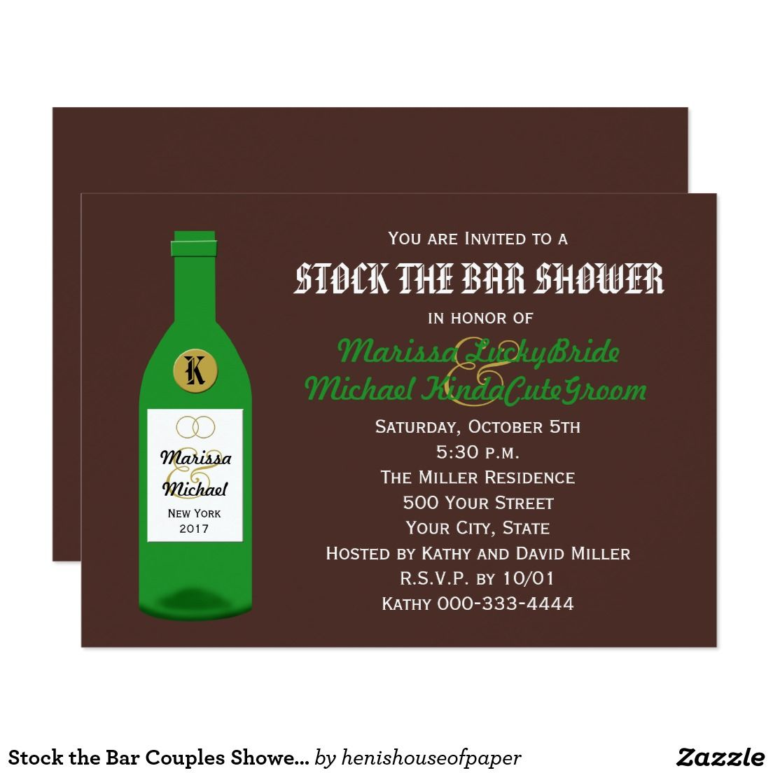 Stock the Bar Couples Shower Invitation - Brown | Couples shower ...