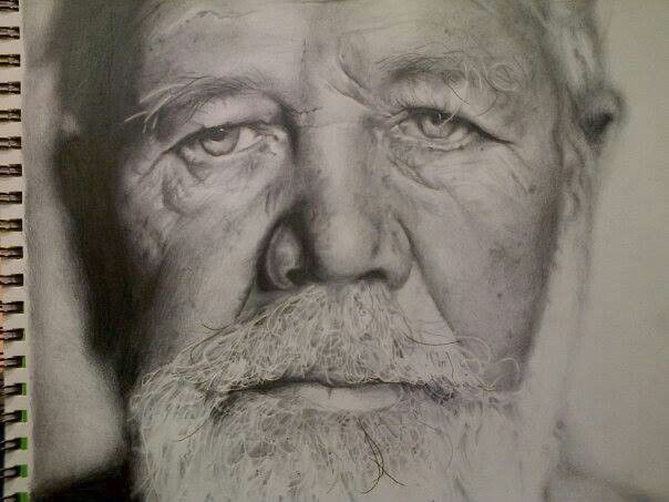 Pencil sketch of eugene terre blanche by south african artist anne marie van der westhuizen