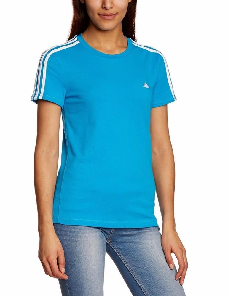 5af0c6a5464 adidas Essentials 3S Womens T-Shirt top UK 4 to 20 Blue sport gym casual