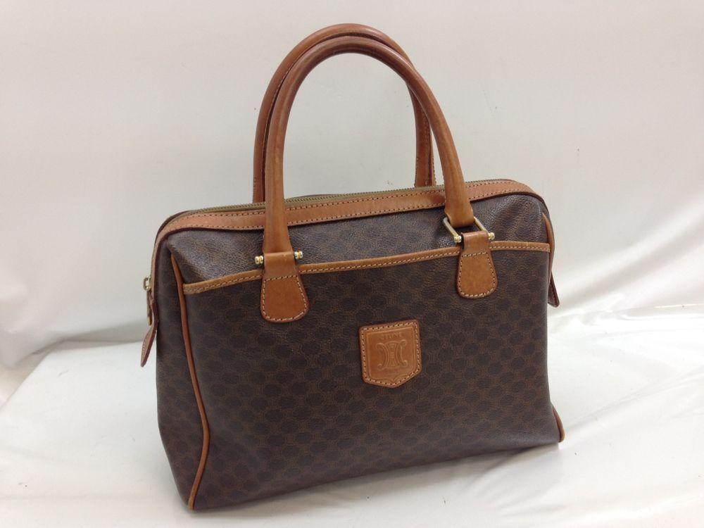 b333a0f57466 Auth CELINE Macadam Pattern Boston Hand Bag Brown Vintage 8H020300    fashion  clothing