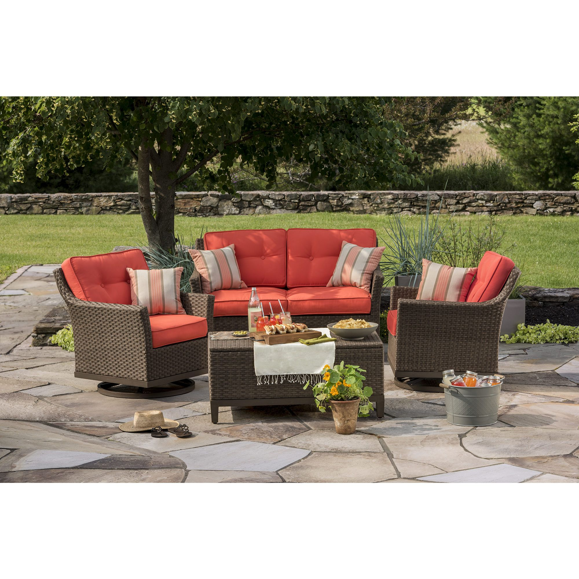 Berkley Jensen Antigua 4 Piece Wicker Patio Set
