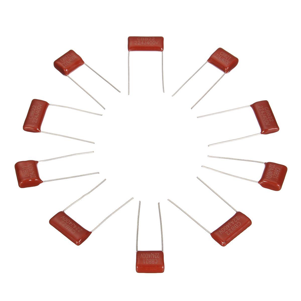 10pcs 400v224j 400v 0 22uf 220nf 400v 224j 224 Cbb Polypropylene Film Capacitor Wire Terminals Connectors Capacitors Electrician Tools