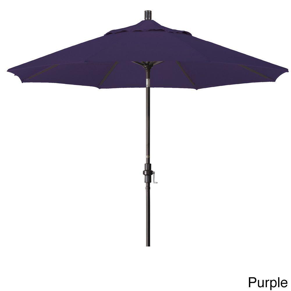 California Umbrella 9' Rd. Market Umbrella, Deluxe Crank Lift with Collar Tilt, Bronze Frame Finish, Pacifica Fabric