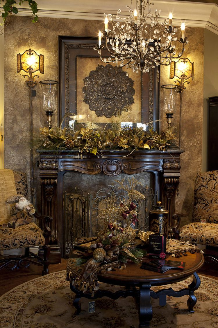 52 Stunning Christmas Mantel Decorating Ideas            Christmas Mantels     Elegant Christmas Themed Mantel