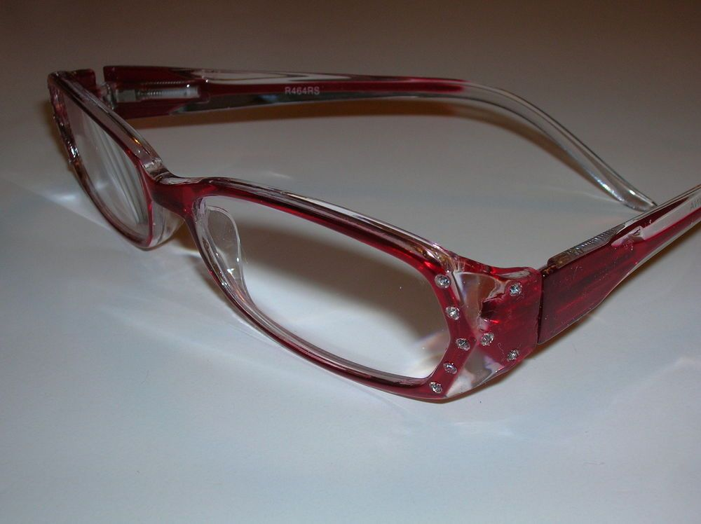 3f3f0d022c2 +2.00 CHERRY RED   CRYSTAL CLEAR RHINESTONE READING GLASSES CLEAR   RED  STEMS