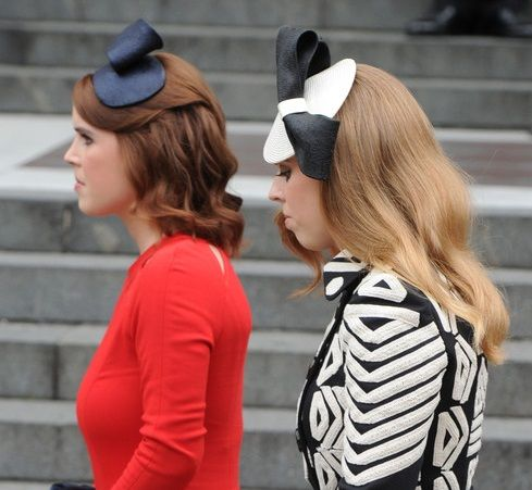 Princess Beatrice and Princess Eugenie of York at the Te Deum service for Queen Elizabeth's 90th birthday - 10.06.16