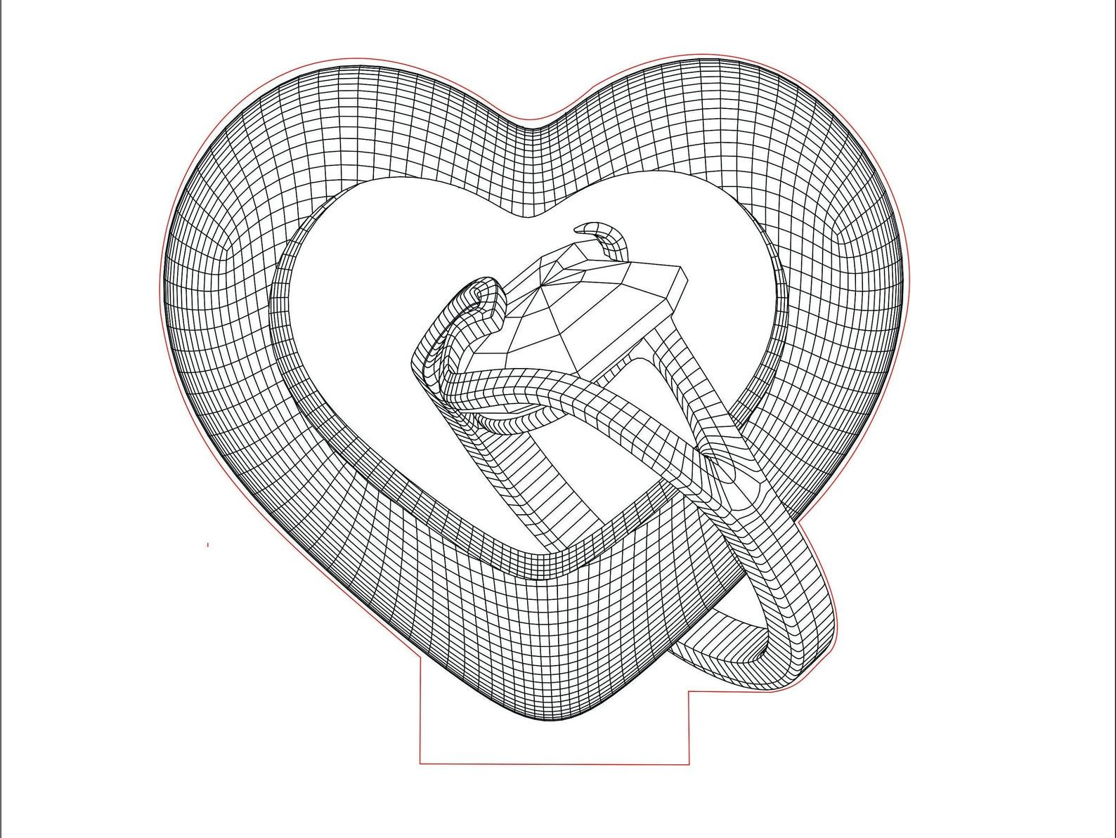 Corazon Con Lampara Led Acrilica De 3d Illusion Vector Dxf Etsy In 2020 Illusions 3d Illusions Acrylic