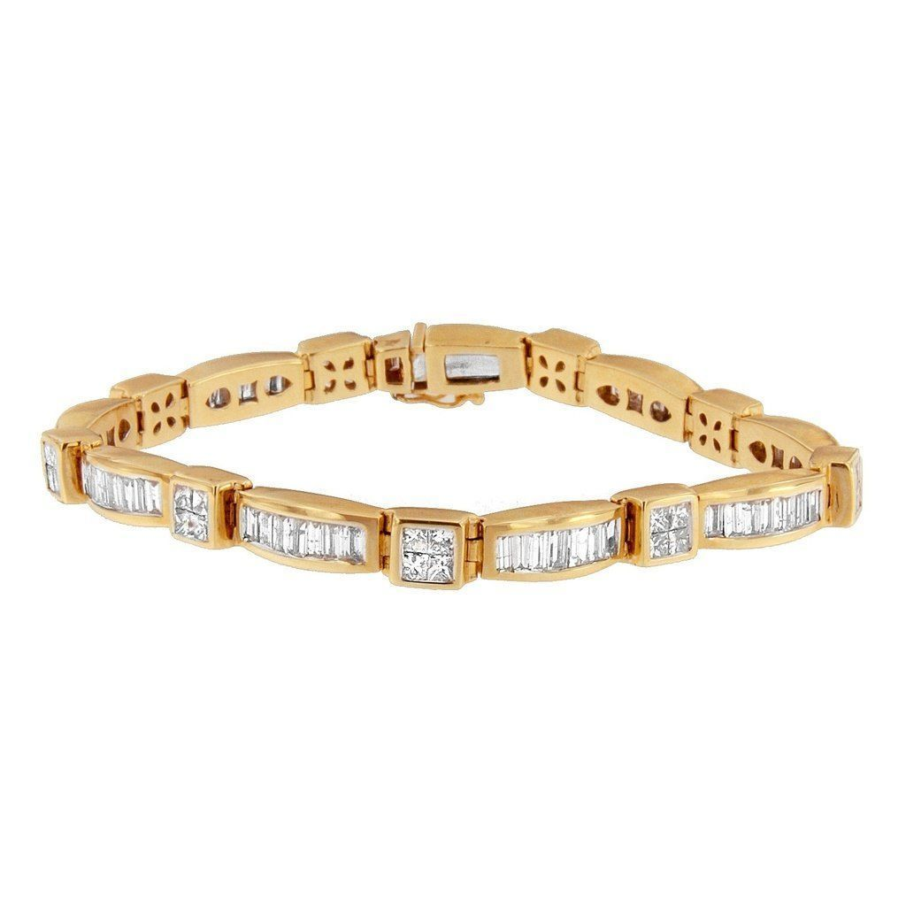 K yellow gold ct tdw baguette and princesscut diamond