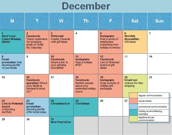 How to Create a Holiday Social Media Calendar Business, Social - sample marketing schedule