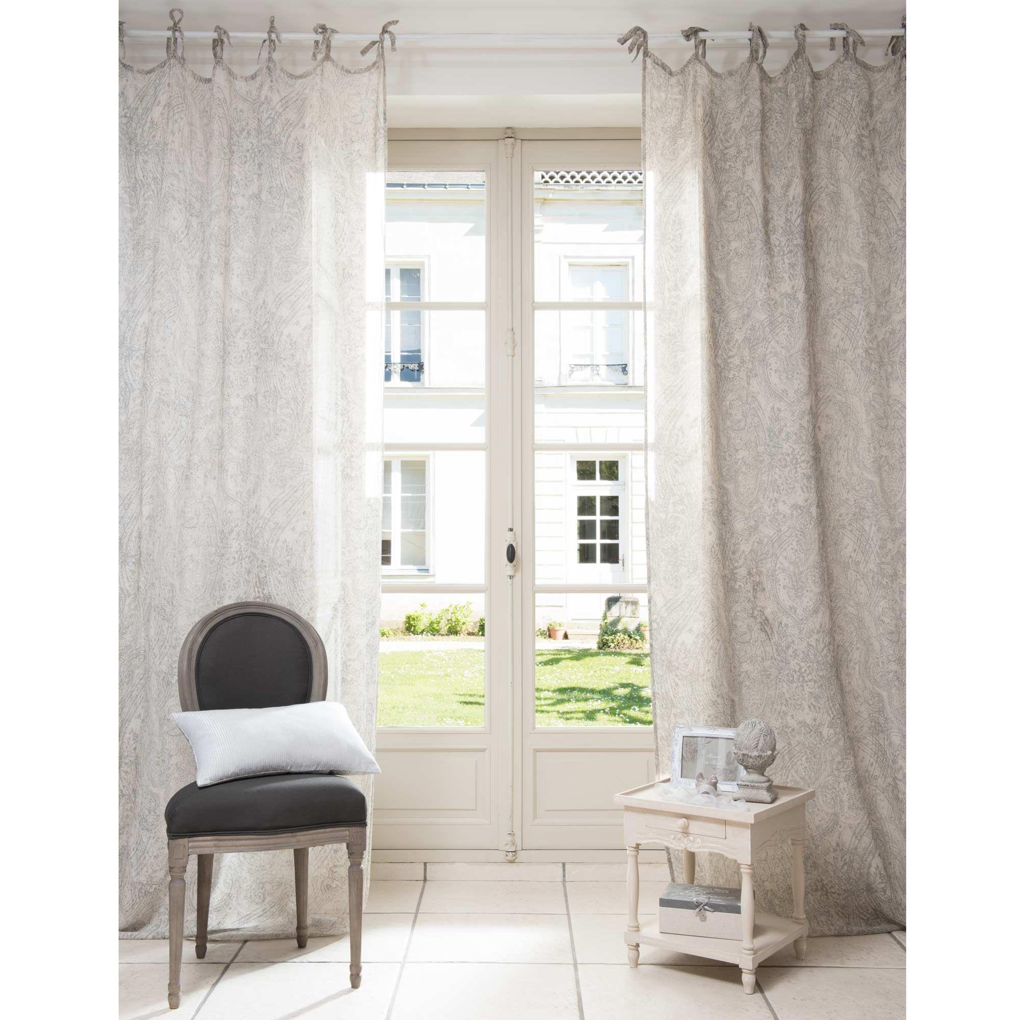 Maison Du Monde Tende.Mornay Linen Tie Top Curtain 105 X 270cm Maisons Du Monde Flat