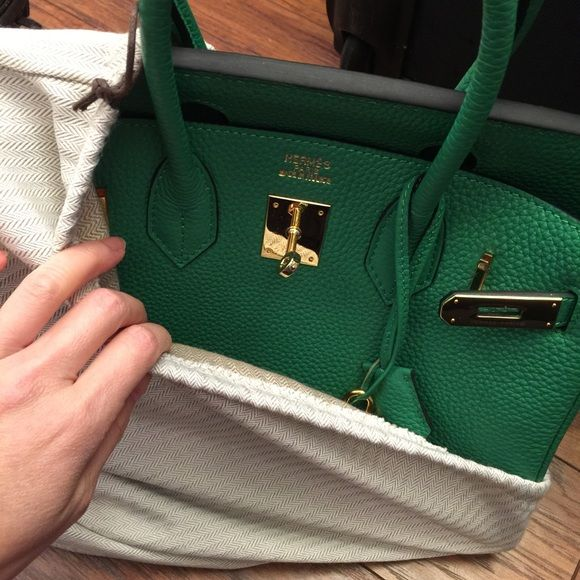 626fe1b911 Birkin style bamboo green bag sz.30 Birkin style! Hot color!! Pre owned used  less than 10 times. Genuine leather!! Hermes Bags Totes
