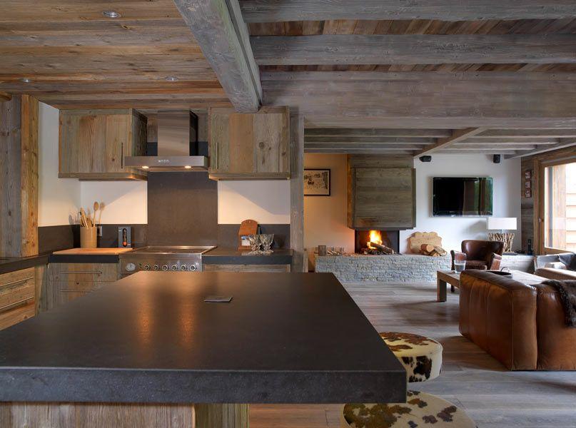 Cuisine américaine avec îlot central   American kitchen with central - cuisine ouverte ilot central