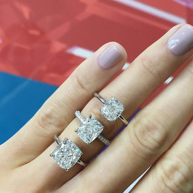 Elongated Cushion Solitaire Engagement Ring Forever Diamond