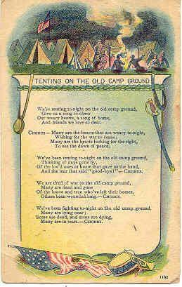 Tenting Tonight   Vintage Civil War Post Card. An unusual card bearing the Civil & Tenting Tonight