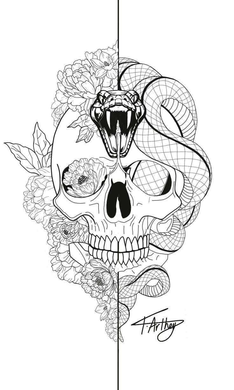 Snake / skull / peonies / lotus / black and white / split / fine line / tattoo d…,  #Black