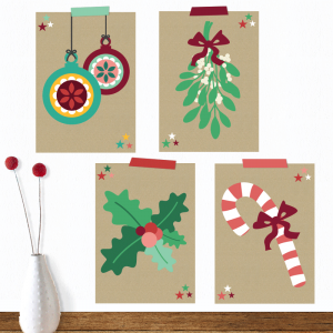 A set of 4 of the coolest christmascards ever with christmas balls, mistletoe, holly or a candycane by Oktoberdots