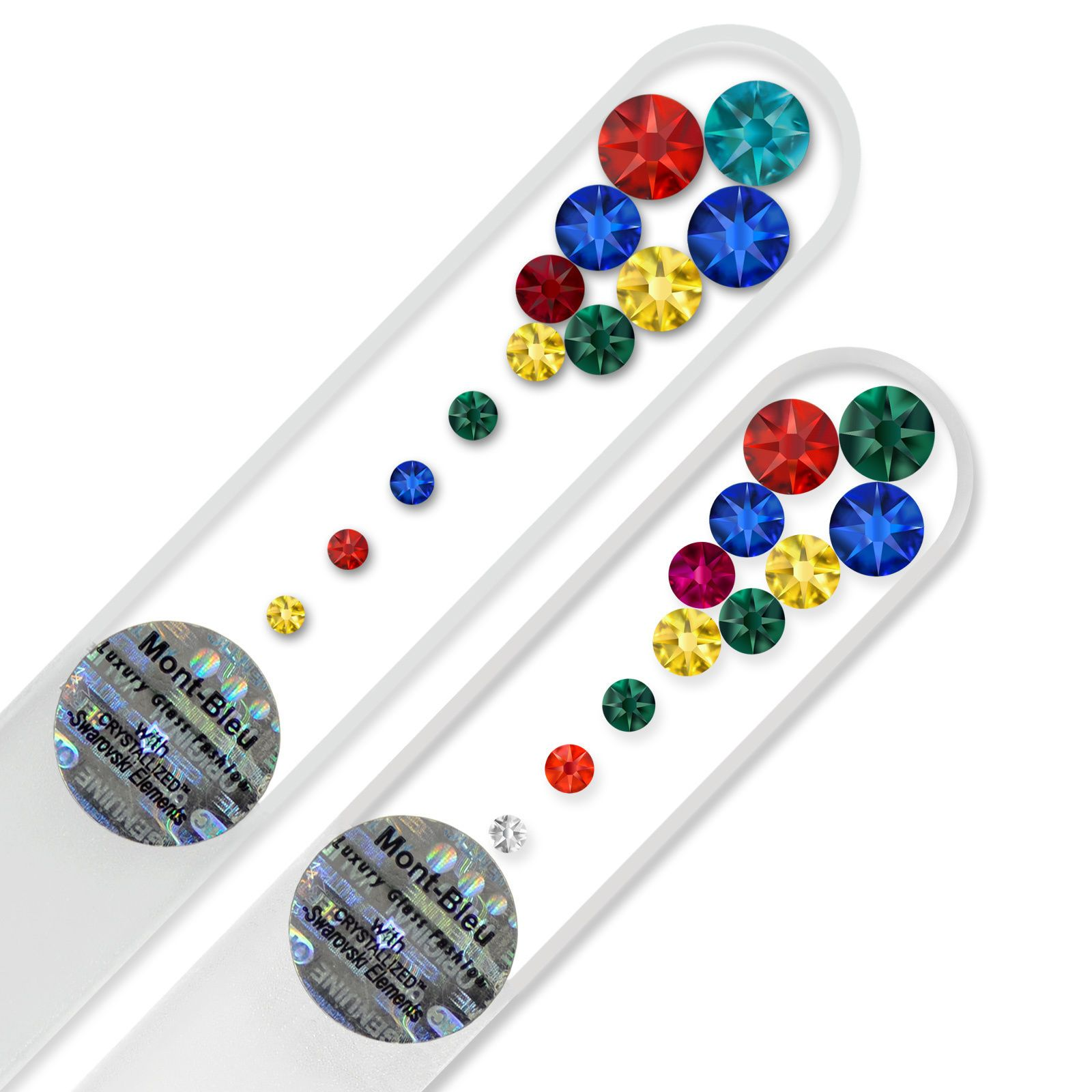 "Set of 2 ""Marbles Clear"" Glass Nail Files Decorated with Swarovski ..."