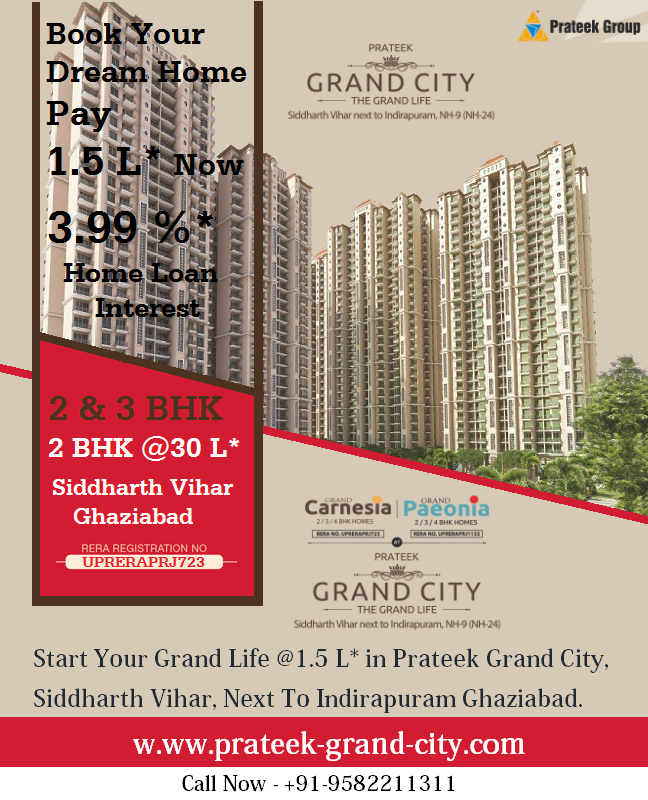 In Prateek Grand City Siddharth Vihar The Available Floor Sizes For 2 Bhk 3 Bhk Apartments Are 770 Sq Ft 970 Sq Ft 1155 Sq Ft 13 City Grands Home Loans