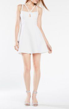 2016 White Charlot Double Strap Short Bcbg Dress