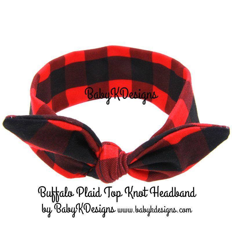 3a0615427dd32 Newborn Baby Girl Christmas Plaid Headband Headwrap Checkered Red ...