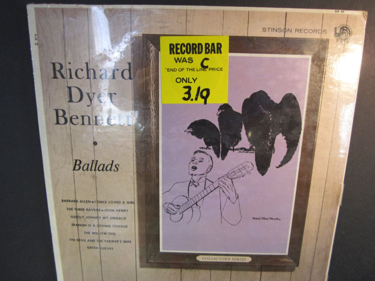 Richard Dyer Bennett Ballads Stinson Records SLP 351963 folk country John Henry Barbara Allen Green Sleeves sealed LP