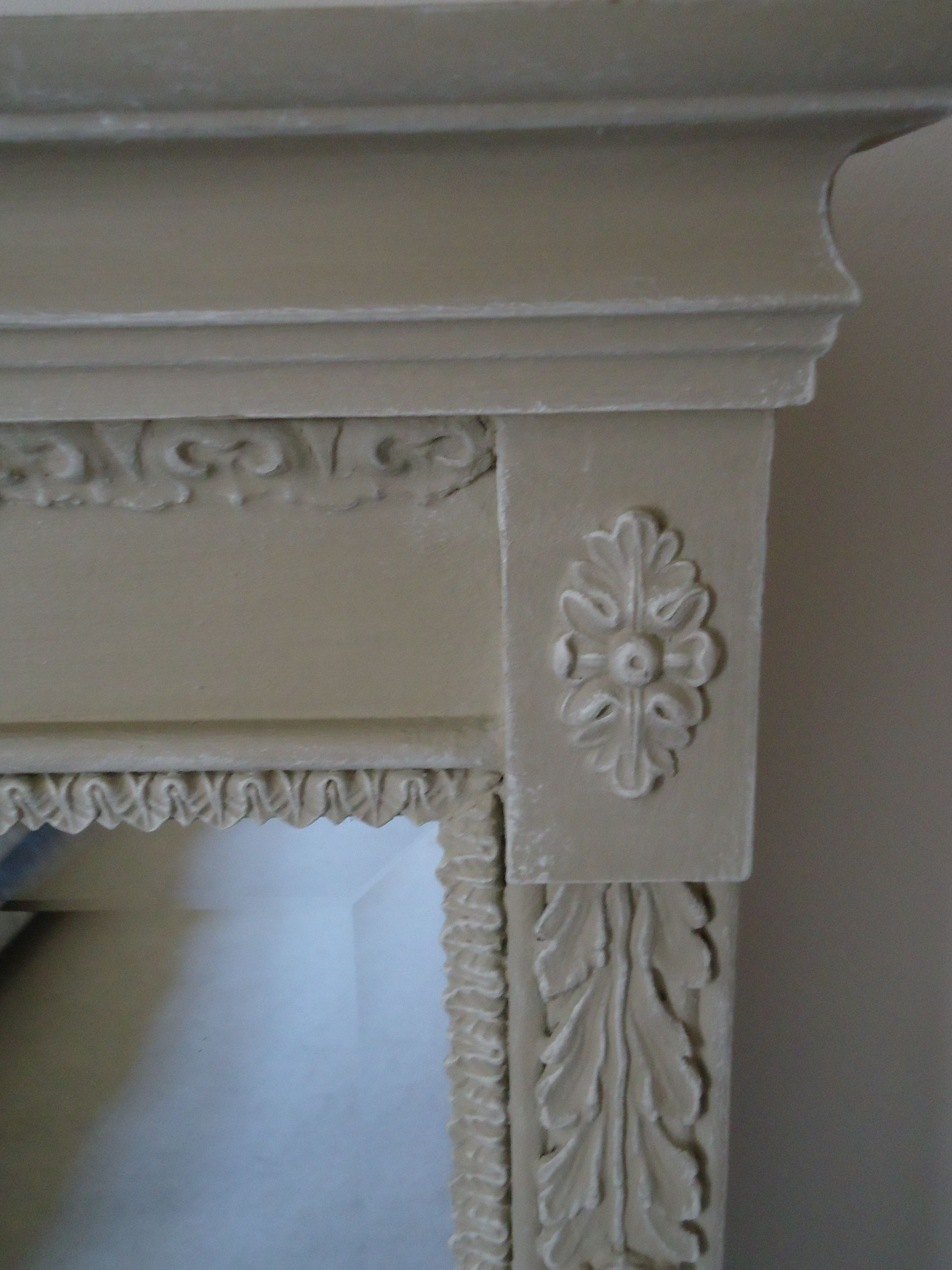 Chicinteriorsoflondon........Large bevelled mirror with ornate surround, transformed from dark wood.