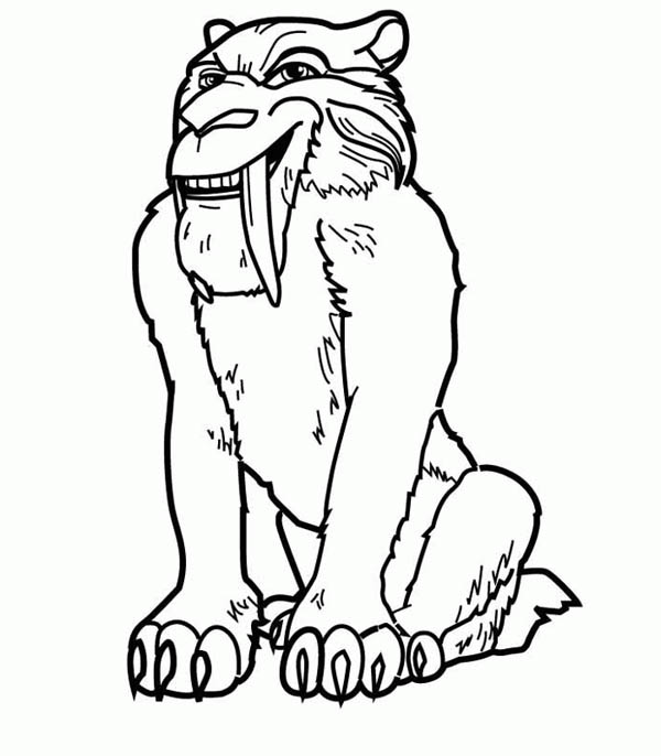 Diego The Saber Tooth Tiger In Ice Age Coloring Pages Bulk Color In 2020 Ice Age Tiger Art Sabertooth