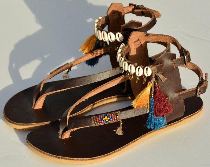 Leather Sandals, Women Sandals, Sandals, Gladiator Sandals, Bohemian Sandals, Festival Sandals, Greek Sandals, Pom Pom Sandal, Summer Sandal 2