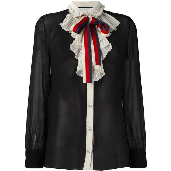 f95601c061e57f Gucci Web bow georgette shirt ($1,400) ❤ liked on Polyvore featuring tops,  black, button front shirt, tie neck top, neck-tie, long sleeve shirts and  ribbon ...