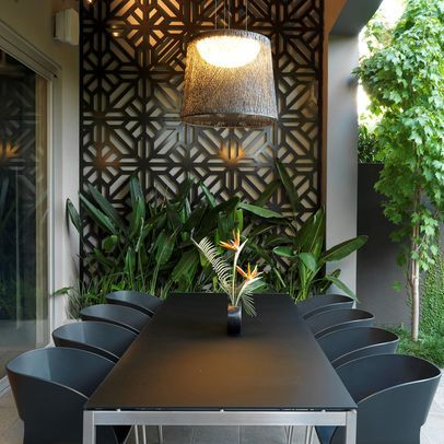 Decorative Wood Screen Design Ideas Pictures Remodel And Decor Outdoor Dining Room Exterior Wall Art Outdoor Wall Decor