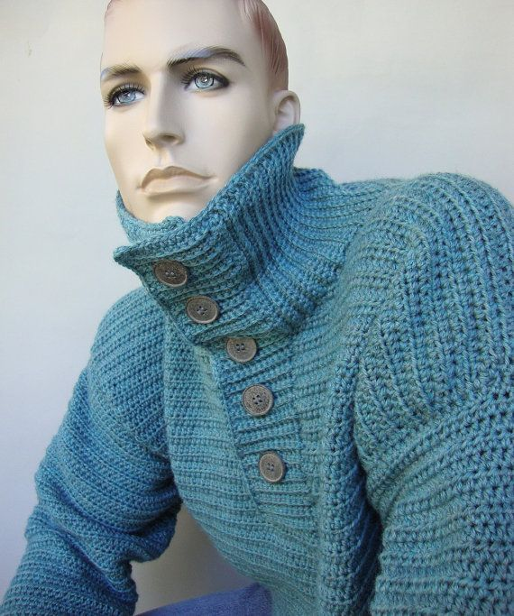 Wool Sweater - Men's Sweater, Sky Blue Sweater, Crochet Sweater ...