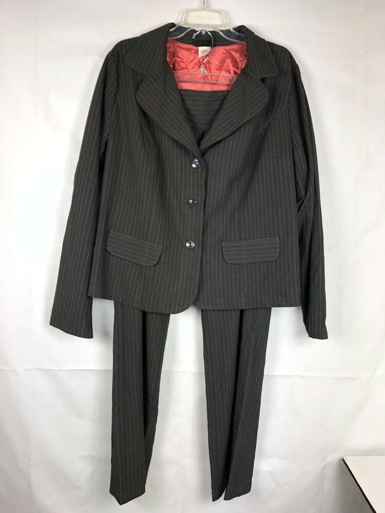 Torrid Women S Pant Suit Plus Size 2 Black Stripe 3 Buttons 999