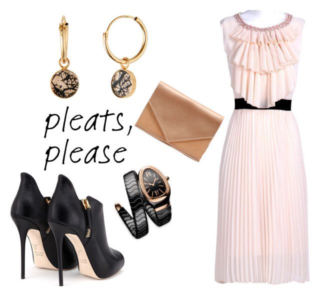 """""""Girly Pleats....."""" by maggiebell53 ❤ liked on Polyvore featuring Bulgari, anzu jewelry and Micoli"""
