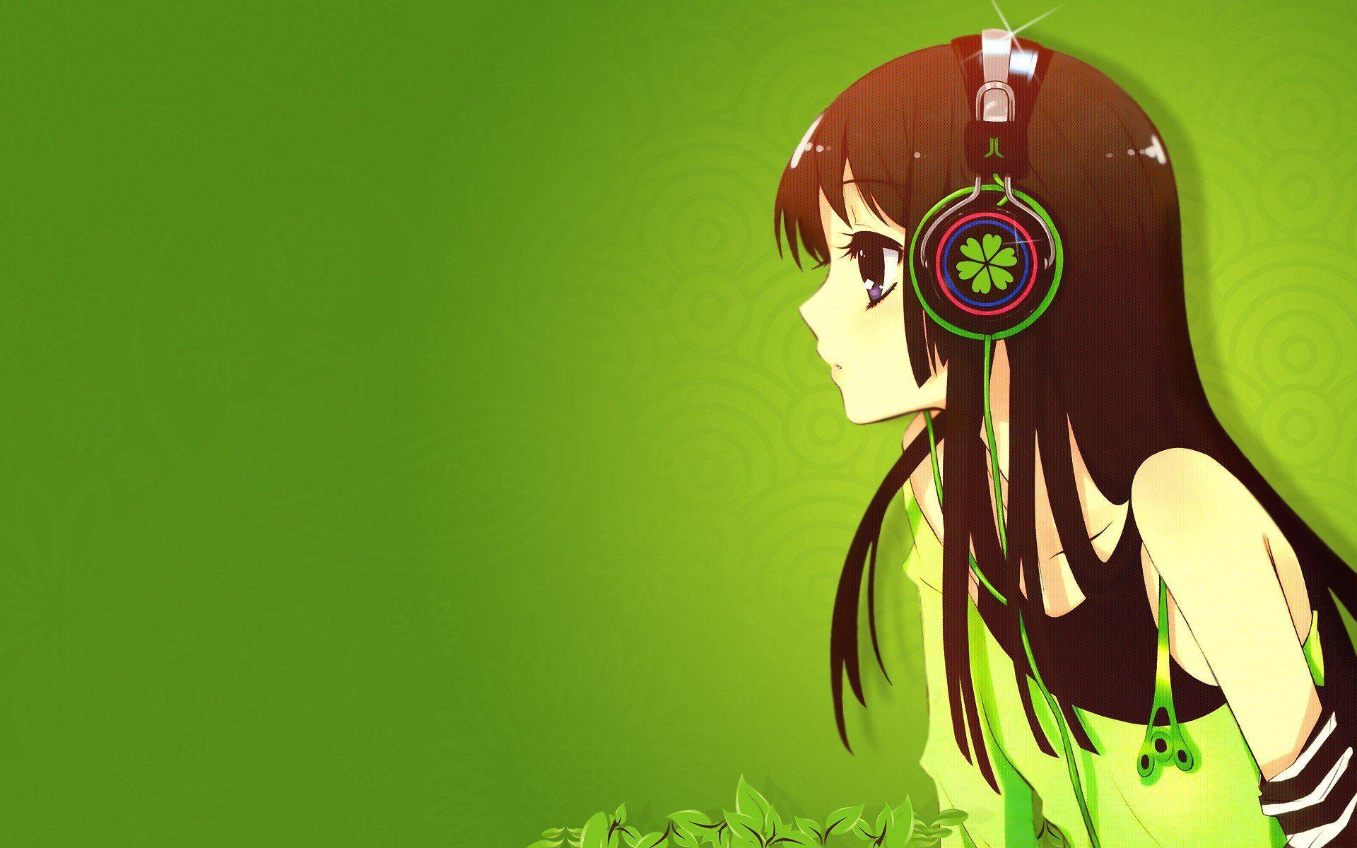 Cute anime girl with headphones wallpaper hd cute anime