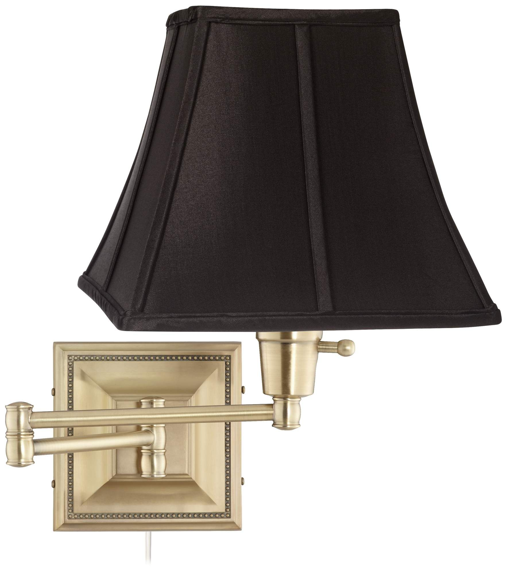 Black Square Shade Brass Beaded Plug In Swing Arm Wall