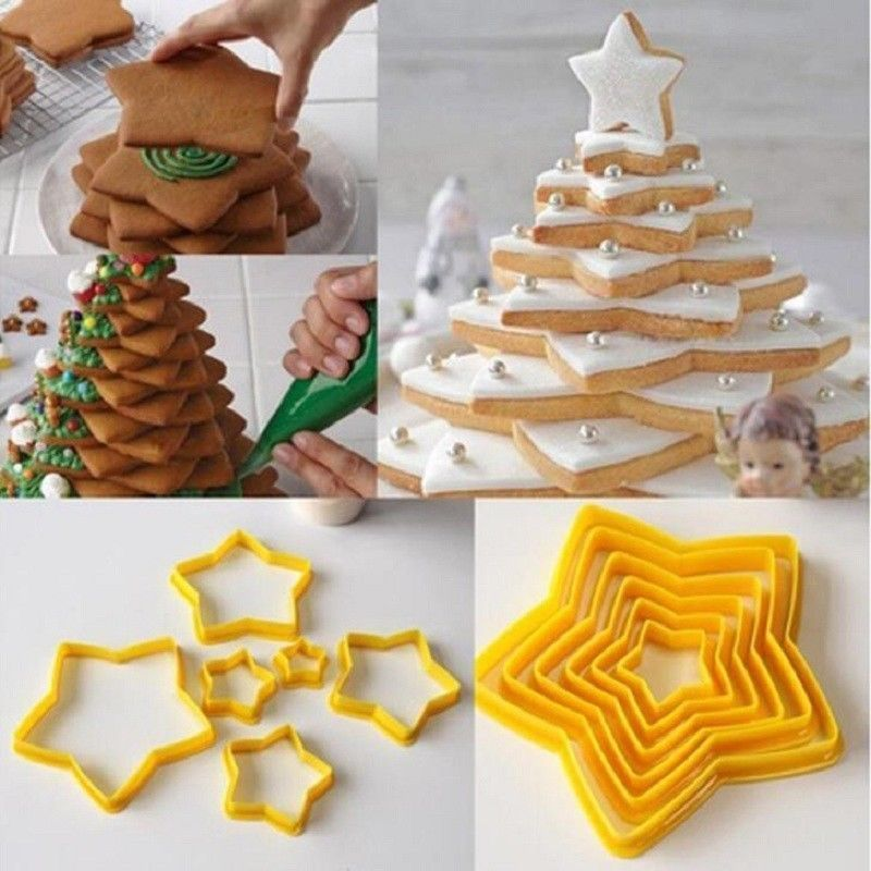 6Pcs 3D Star Cutter Cookie Biscuit Set for Gift Christmas Tree