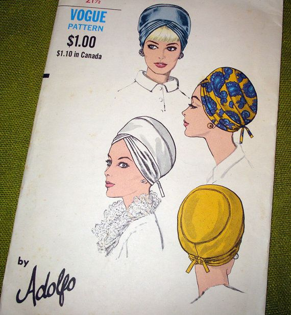 1960 Vintage Vogue Sewing Pattern Turban Hats by SelvedgeShop ...