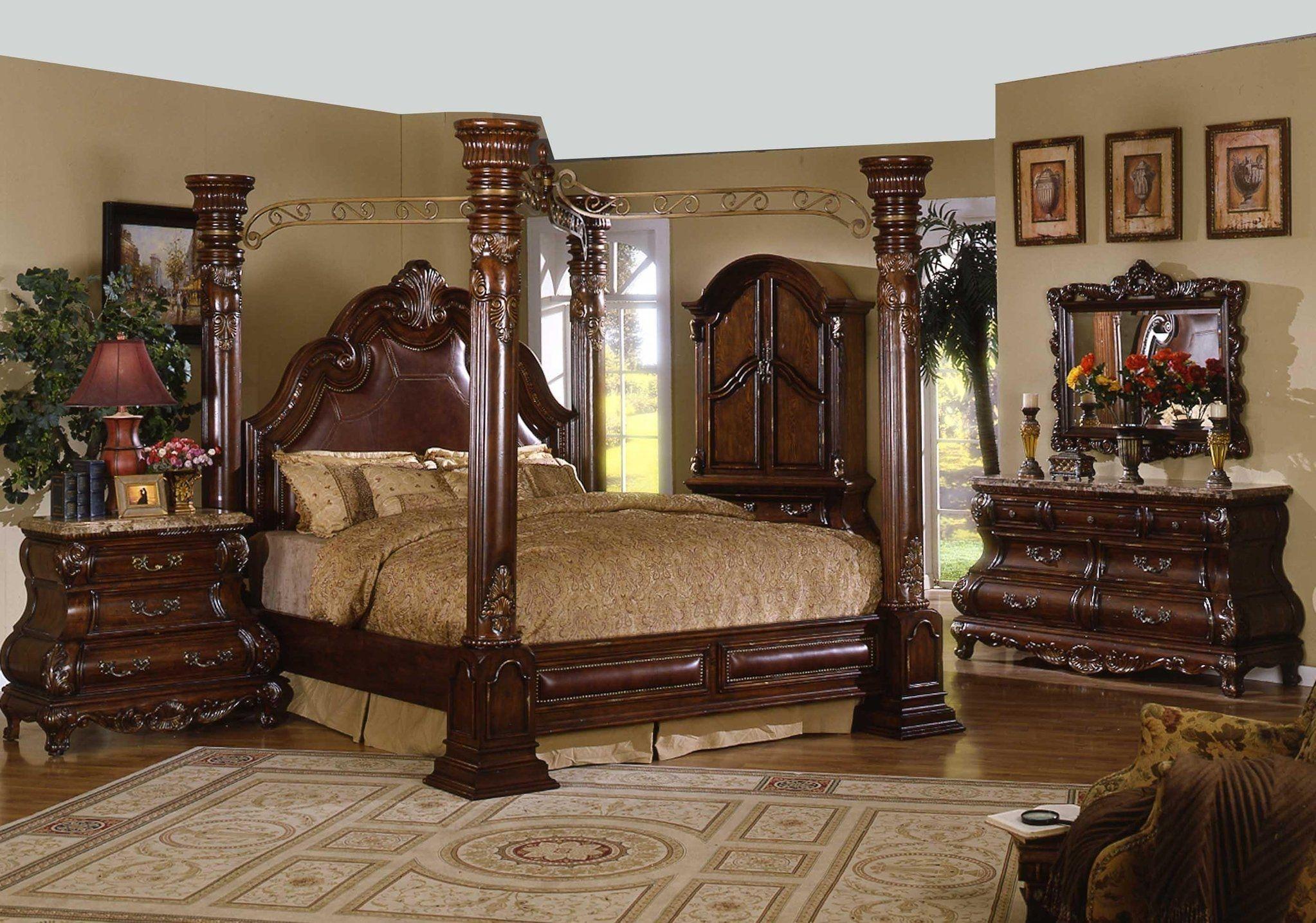 Cherry wood canopy bedroom set bedroom sets pinterest canopy
