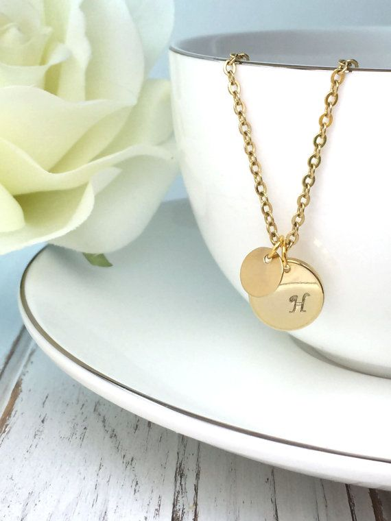 Hand Stamped Jewelry Initial Necklace Gold Disc by NaosJewel