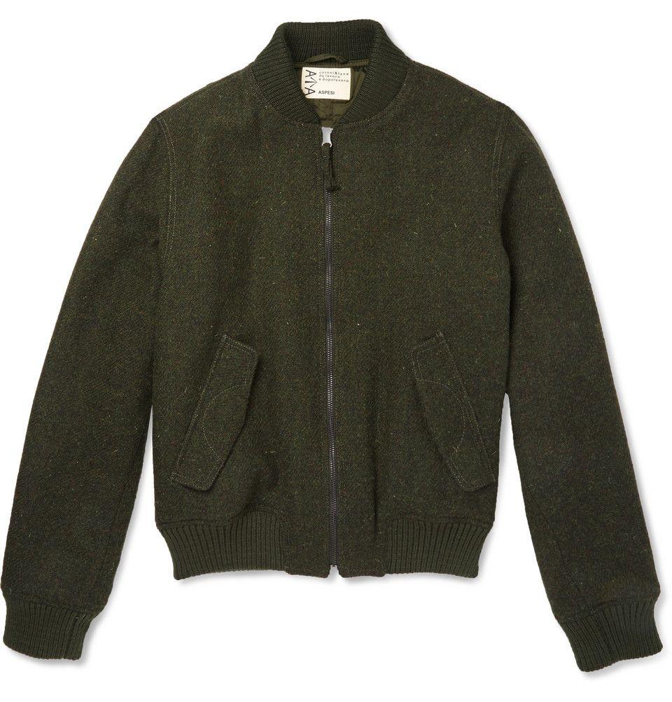 Aspesi Harris Tweed Bomber Jacket Mr Porter Designer Bomber Jacket Long Coat Men Mens Coats [ 1002 x 960 Pixel ]