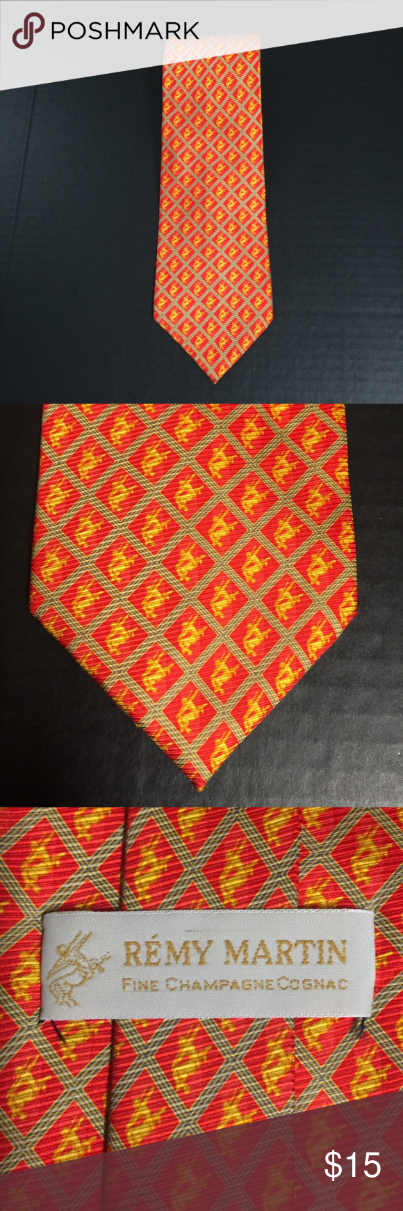 Men S Vtg Remy Martin Logo Tie New Red And Yellow Logo Unique Ties Vibrant Red